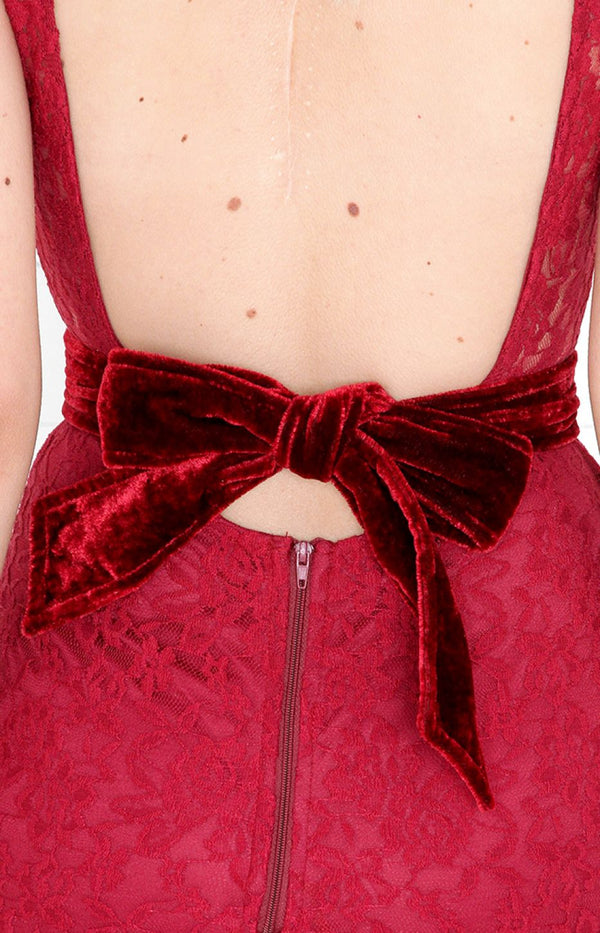 Ribbon Tie Belt - Burgundy
