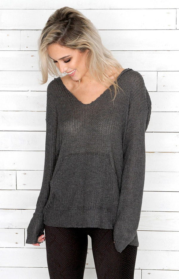 V-Neck Jumper - Ash