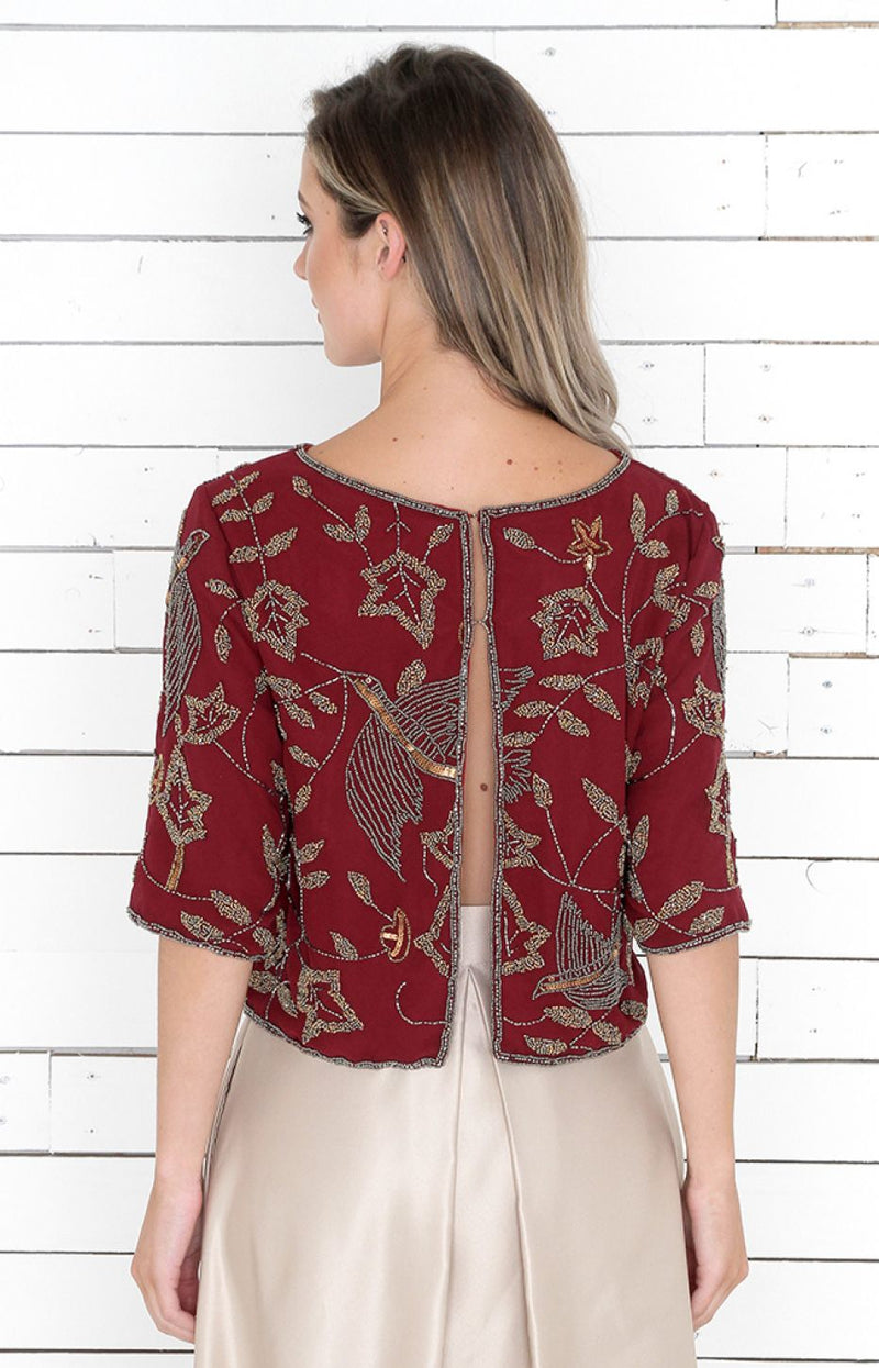 Zarah Beaded Top/Jacket - Burgundy