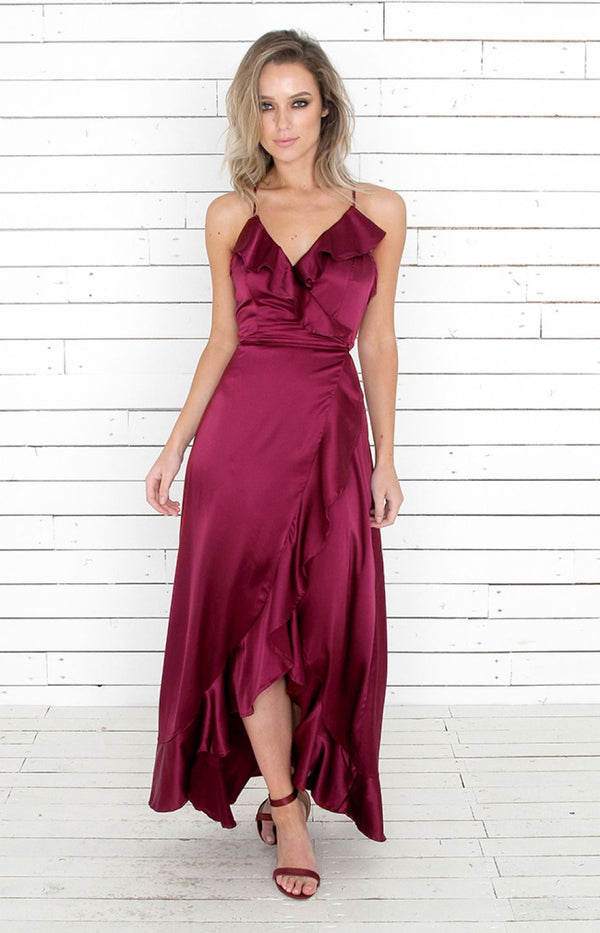 Lorena Dress Lux - Wine