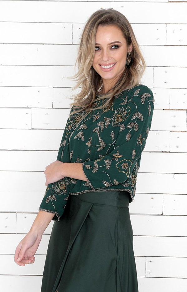 Eve Beaded Top/Jacket - Forest Green