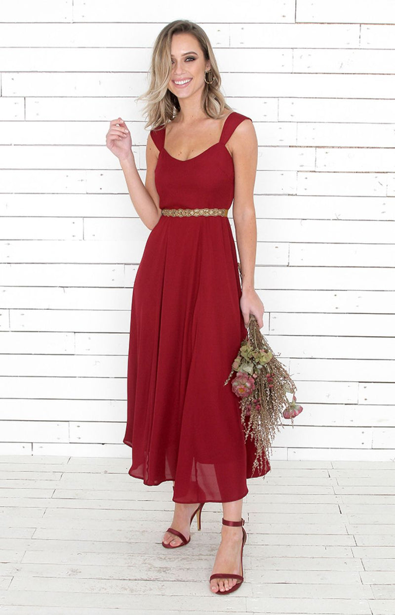 Milla Tea Dress - Wine