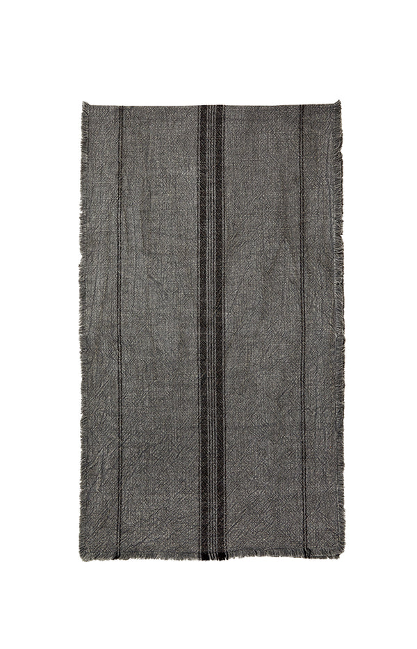 Striped Runner w/ Fringes - 40x140cm - Dark Grey