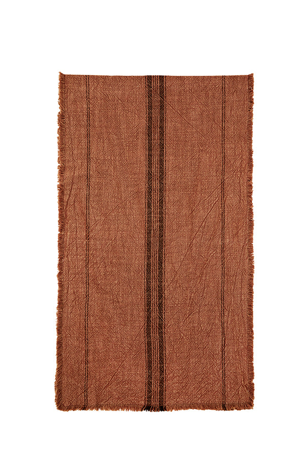 Striped Runner w/ Fringes - 40x140cm - Rust