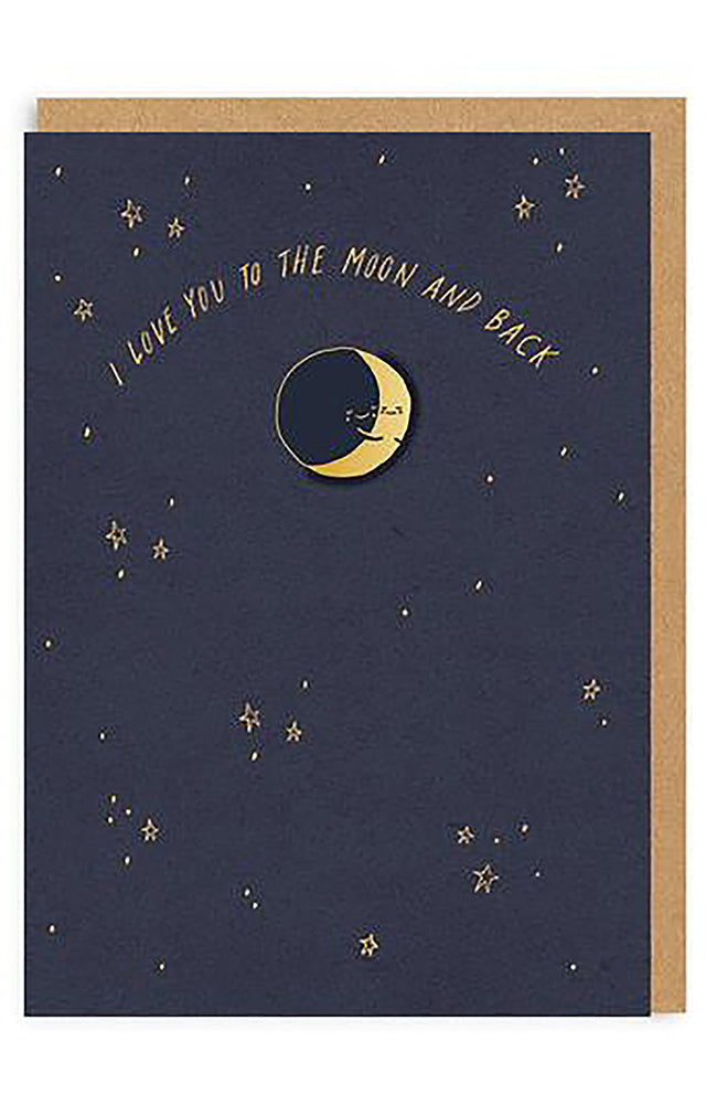 Moon And Back Enamel Pin Greeting Card