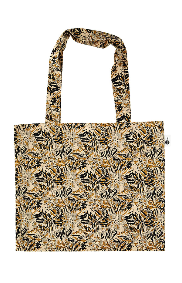 Printed Cotton Tote Bag - Sand
