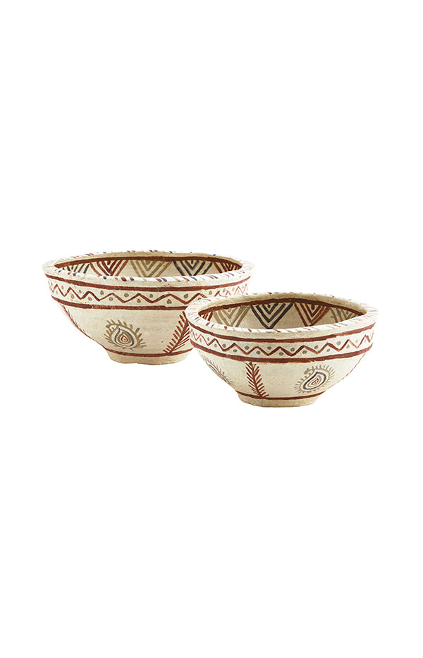 Handpainted Paper Mache Bowls - Natural/Rust