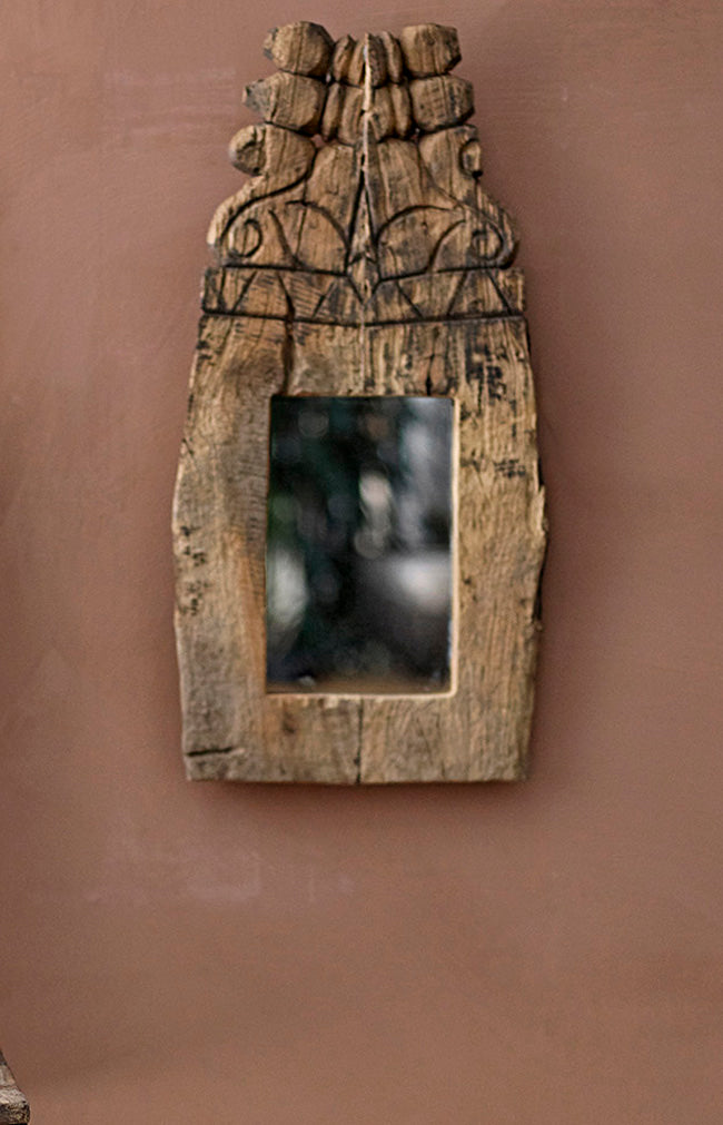 Recycled Handmade Wood Mirror - L25/H44/W3 cm