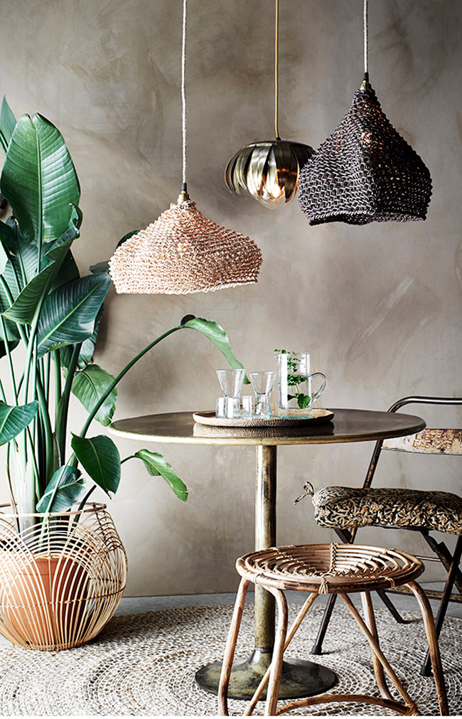 Paper Rope Lamp Shade - Brown