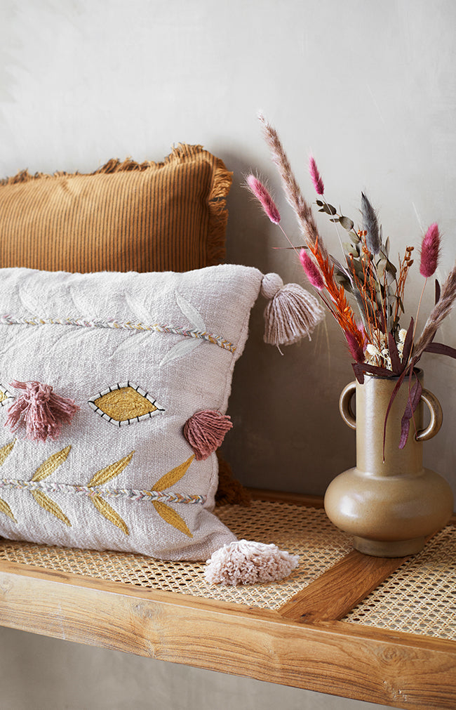 Striped Cushion Cover W/ Fringes - Almond