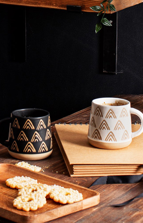 Wax Resist Triangles Mug - White