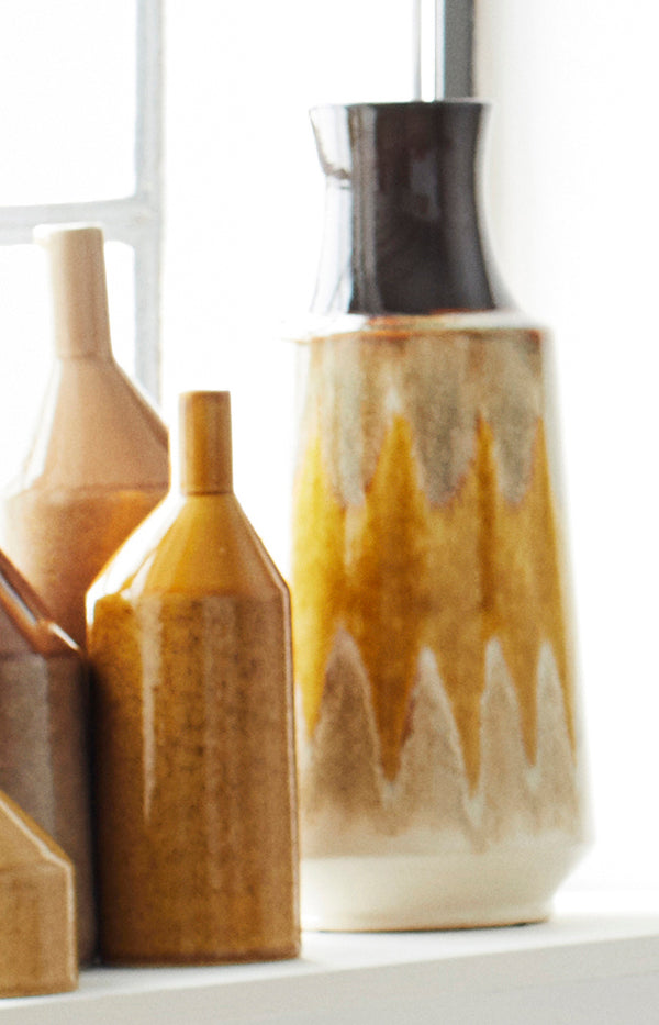 Brown & Yellow Stoneware Vase - 17x39cm