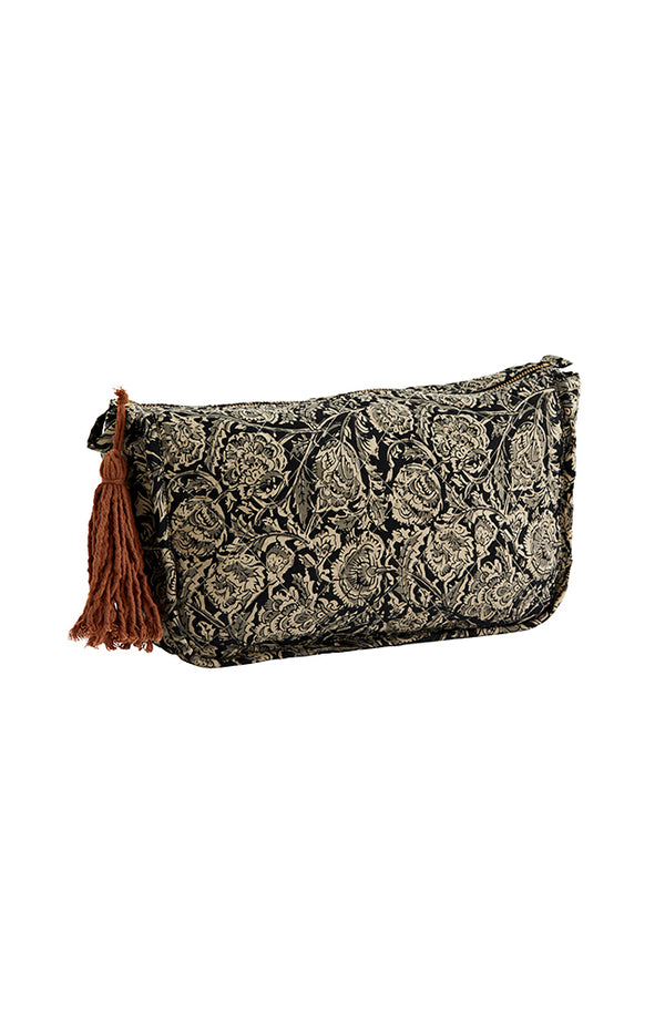 Printed Toilet Bag w/ Tassel - Black