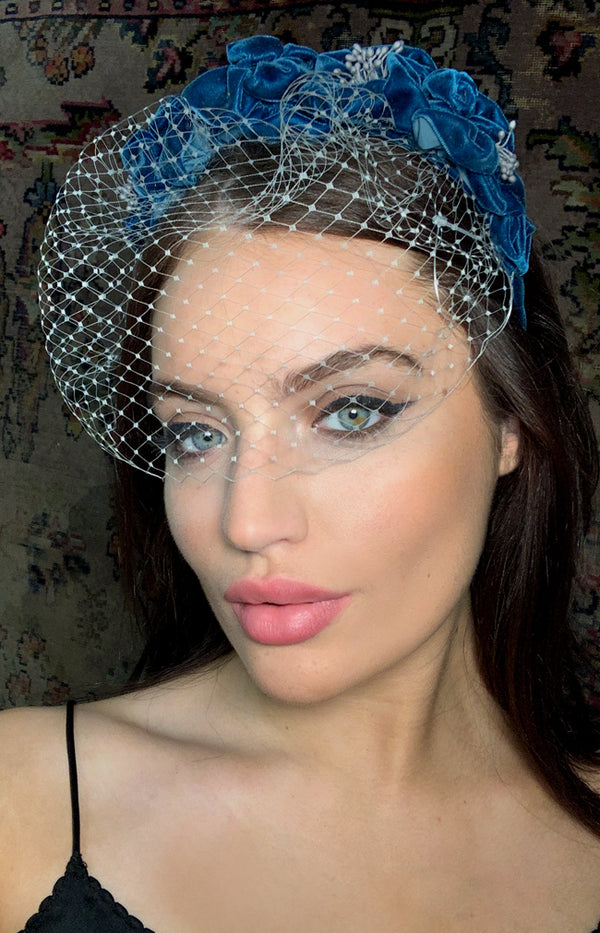 Handmade Velvet Headpiece  - Teal