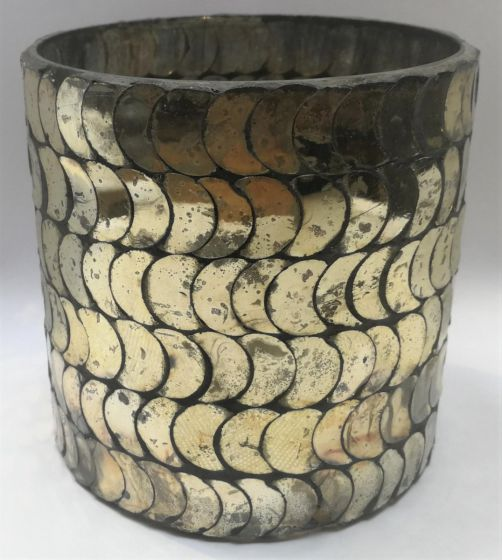 Gold Glass Patterned Tealight Holder