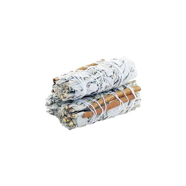 White Sage & Cinnamon Smudge Stick - 10cm