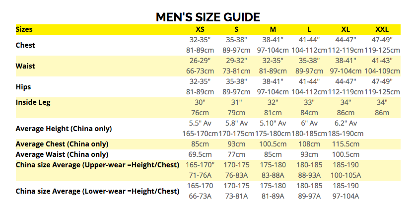 Ronhill Mens Size Guide