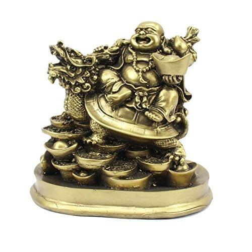 5 inches Fengshui Laughing Buddha Riding on Dragon and Ingot (Golden Antique Colour)