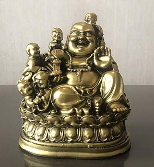 6.5 Inches Laughing Buddha Sitting with Children Buddha for Good Luck & Happiness - Home Decoration & Gifting Fengshui