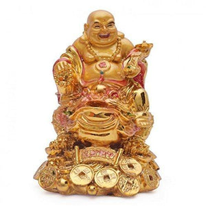 Buy Fengshui Laughing Buddha on Frog for Good Luck & Happiness (5 inches) Gifts