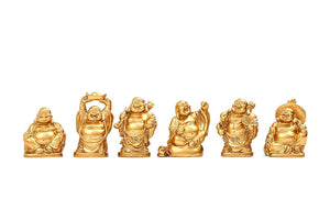 Set of 6 Feng Shui 2.5'' Golden Resin Laughing Buddha Statue Figurines