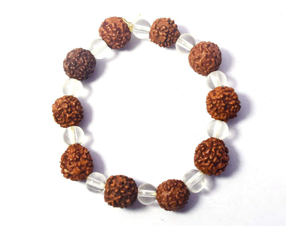 Original 5 Mukhi Rudraksha Sphatik Bracelet - Daily Wear Party Wear Gifts for Men and Women