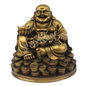 5 inches Laughing Buddha Sitting on Luck Money Coins Carrying Golden Ingot for Good Luck & Happiness Feng Shui