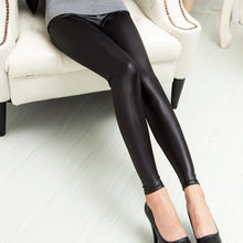 Load image into Gallery viewer, Leather Sexy Thin Black Legging