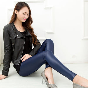 Leather Sexy Thin Black Legging