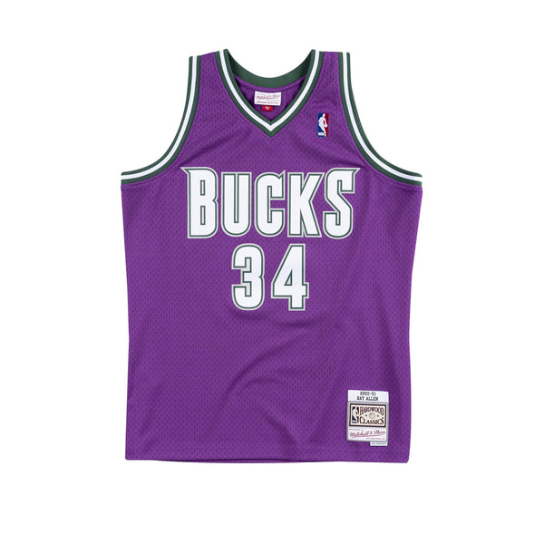 NBA Hardwood Classics Swingman Jersey Milwaukee Bucks Ray Allen 2000-01