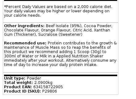 Applied Nutrition 100 % Beef Isolate