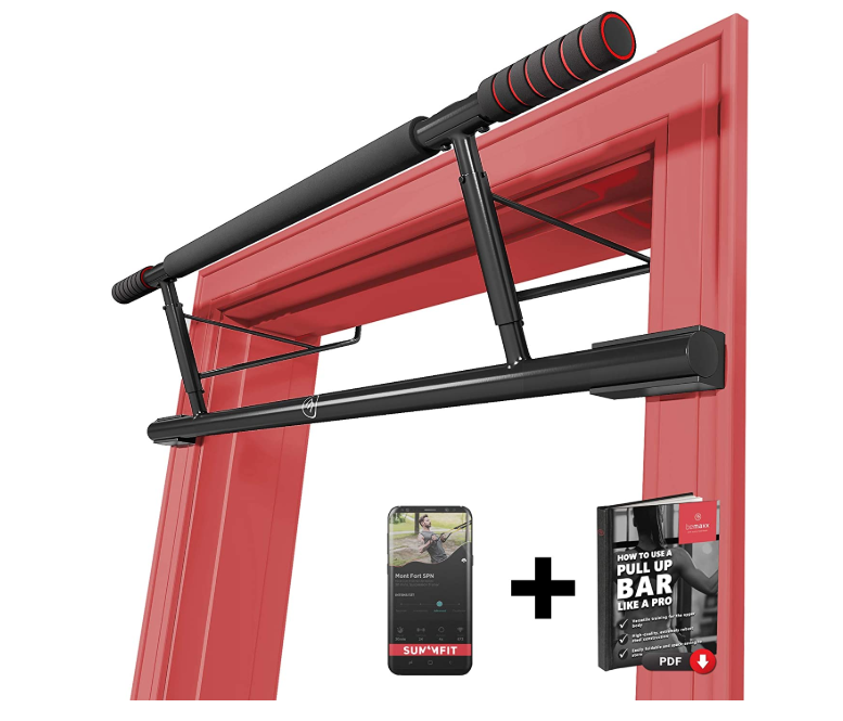 Indoor Mounted Gym Fitness Pull Up Bar Work Out System, Easy Set Up, No Screws!