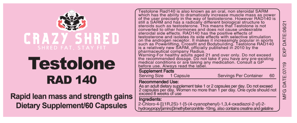 Crazy Shred Testolone Rad-140 Similar to Testosterone without the side effects