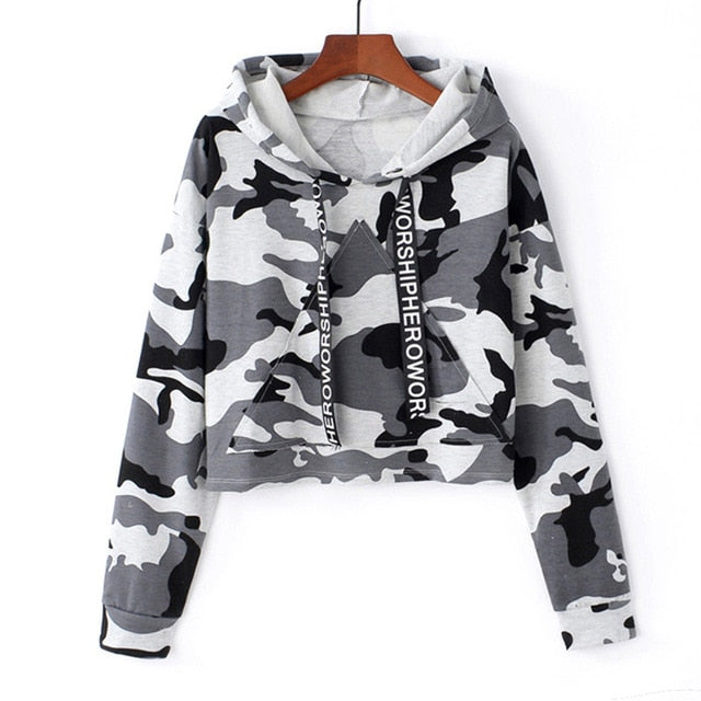 Camouflage Printed Cropped Hoodie