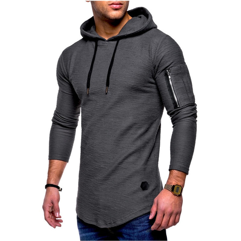 Fitness Long Sleeves Hoodie With Zippers