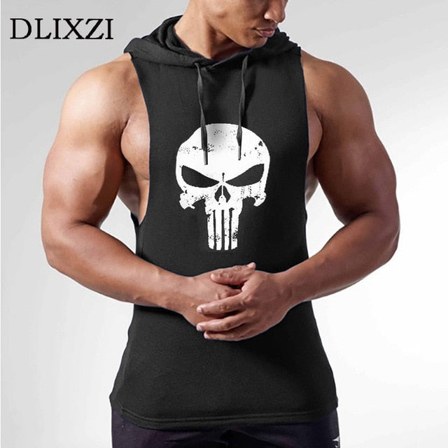 Printed Skull Hooded Tank Top