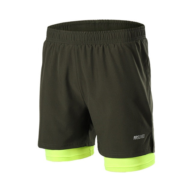 2 In 1 Dry Fit Compression Gym Shorts