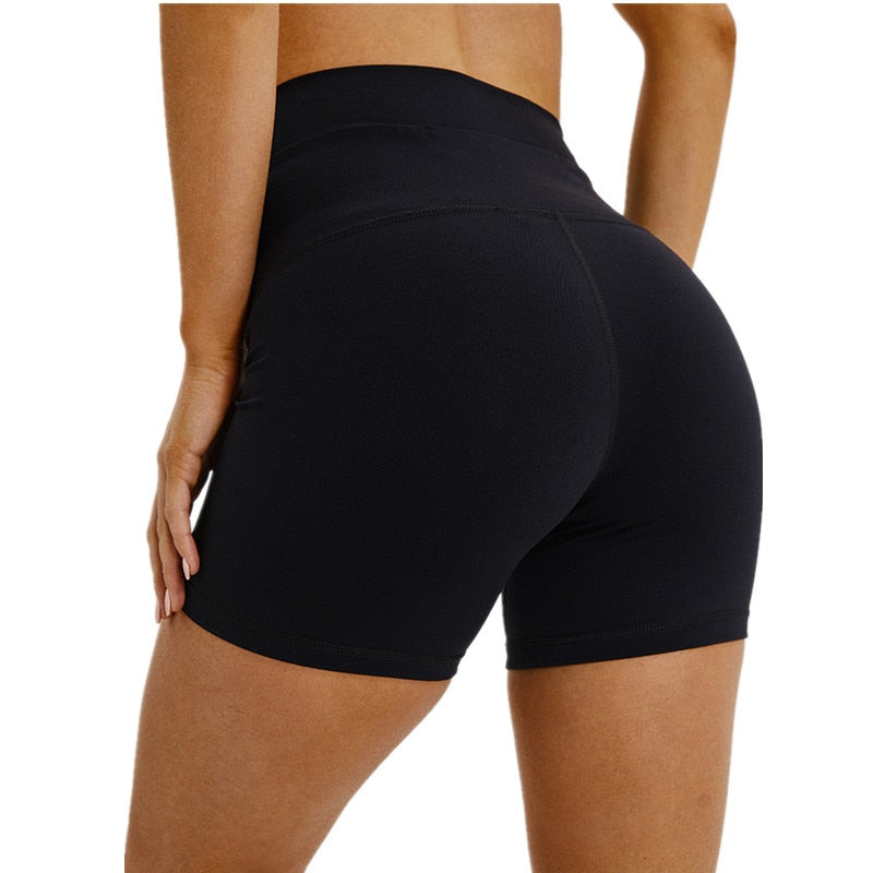 High Waist Solid Slim Shorts