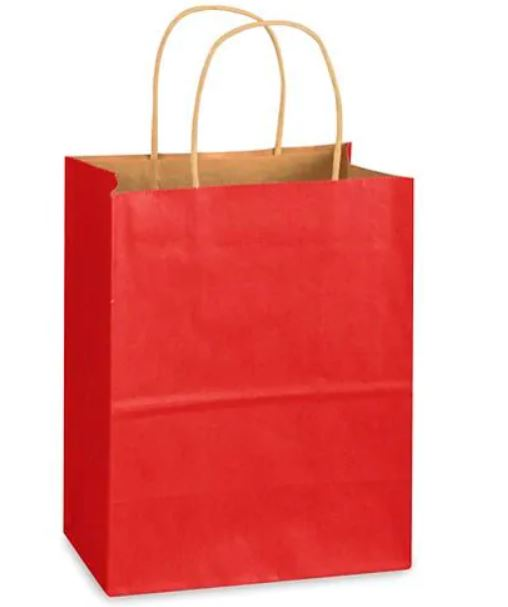 "Shopping Bag - Red 8 X 4 1/2 X 10 1/4"" - 2 BAGS"
