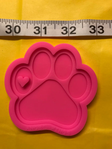 Silicone Mold - Paw Print w/ Small Heart