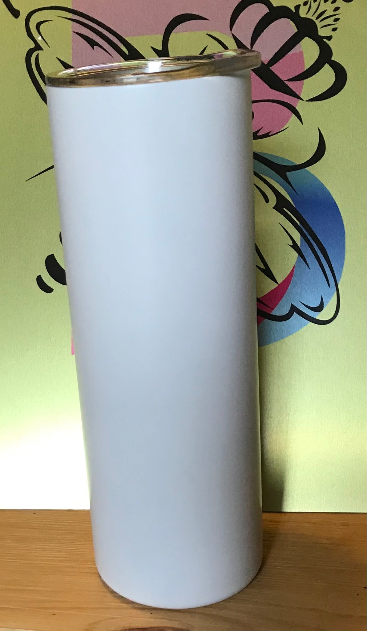 20 Ounce  WHITE MATTE SUBLIMATION**** Straight Skinny W/Straw