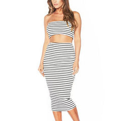 Women's Striped Casual Two Piece Vestidos