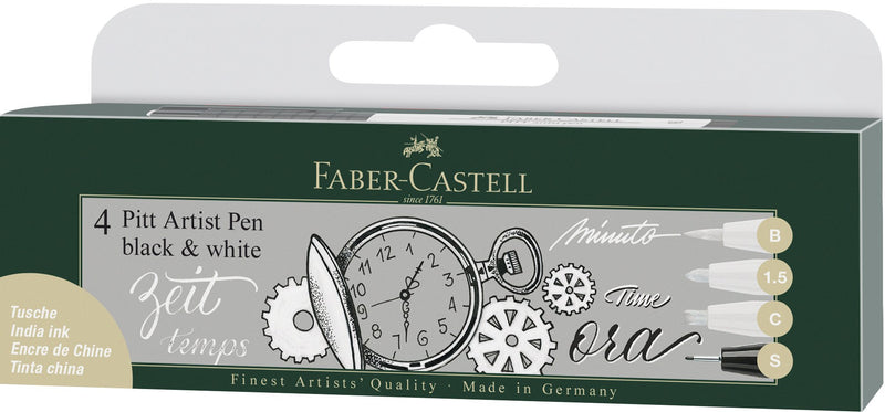 Faber-Castell Pitt Artist Pen India ink pen, wallet of 4 black&white - Faber-Castell -  L.S.F. Group of Companies