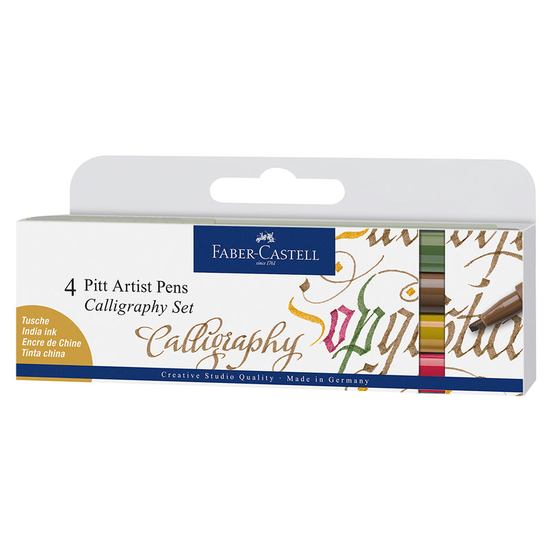 Faber-Castell Pitt Artist Pen Calligraphy Colours Set of 4