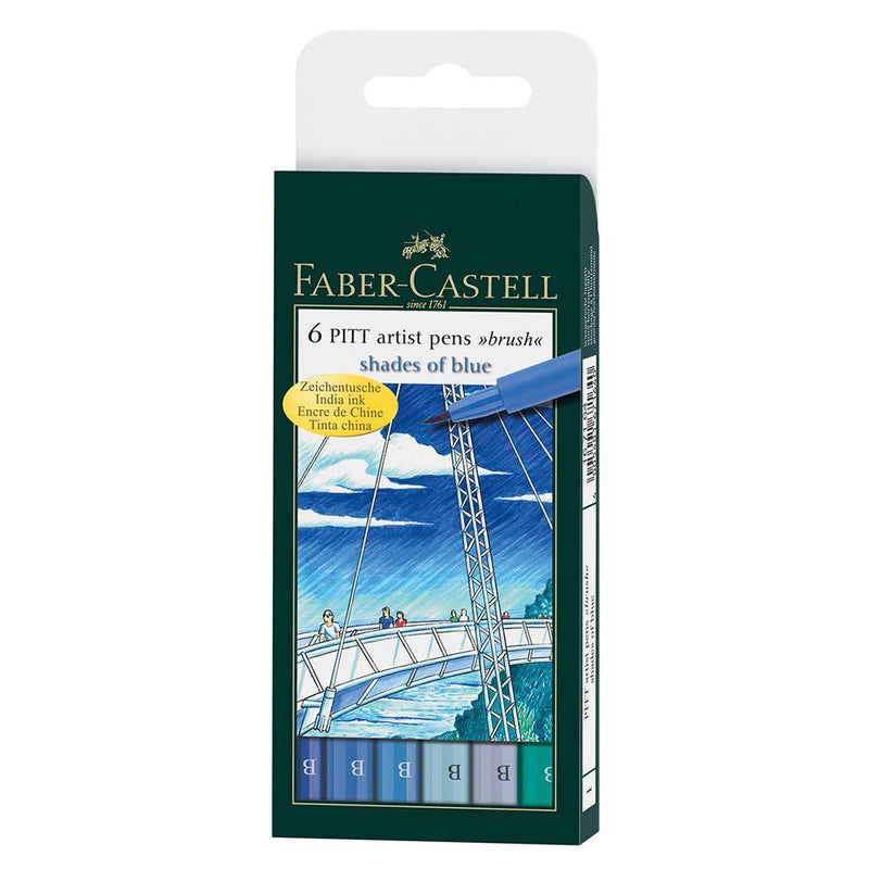 Faber-Castell Pitt Artist Pen Wallet of 6 - Faber-Castell - Colour Shades of Blue - House of Fine Writing - Toronto, Canada