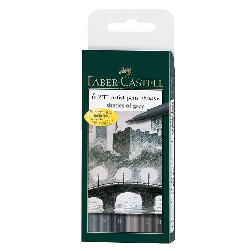 Faber-Castell Pitt Artist Pen Wallet of 6 - Faber-Castell - Colour Shades of Grey - House of Fine Writing - Toronto, Canada