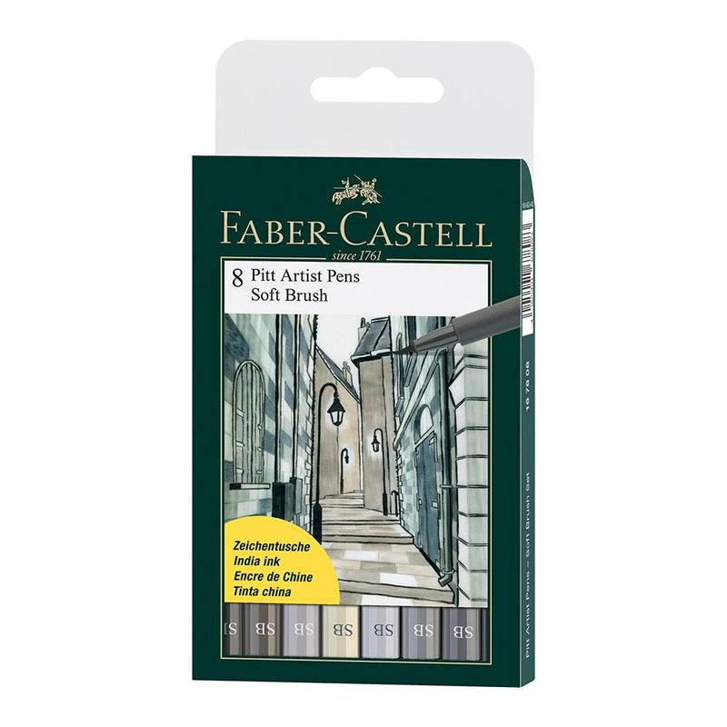 Faber-Castell Pitt Artist Pen Wallet of 8 - Faber-Castell - Colour Shades of Grey - House of Fine Writing - Toronto, Canada
