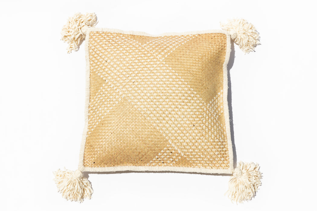 Large Pompom Woven Cushion