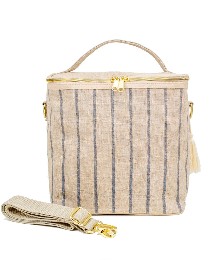 Lunch Bag - Linen Slate Pinstripe