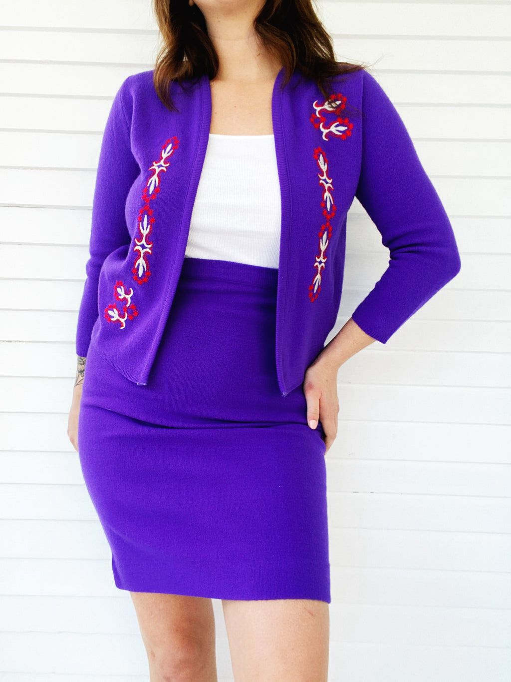 Embroidered Purple Sweater Set